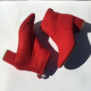 Red boohoo ankle boot